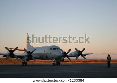 P-3 Orion at Sunrise - stock photo