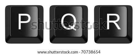 P, Q, R black computer keys alphabet isolated on white