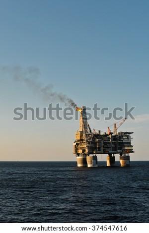 PA-B sea oil production platform, Sakhalin, Russia - stock photo