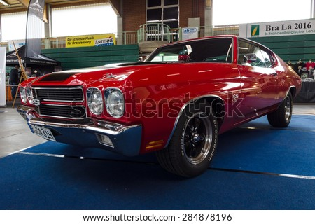 PAAREN IM GLIEN, GERMANY - MAY 23, 2015: Mid-size car Chevrolet Chevelle SS3454 Hardtop Coupe. The oldtimer show in MAFZ.