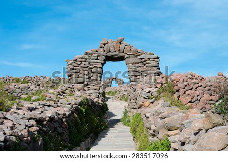 Pacha Tata Temple, Amantani, Peru - stock photo