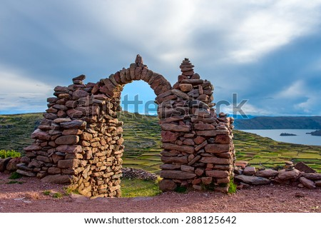 Pacha Tata Temple, Amantani, Peru - stock photo