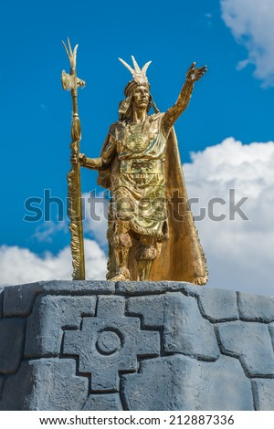 Pachacutec Inca statue in Plaza de Armas of Cuzco Peru - stock photo