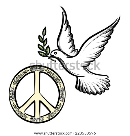 Pacific anti-war symbol for nuclear disarmament  now an international peace symbol  and the dove of peace with an olive branch icons to promote harmony and peace worldwide - stock photo