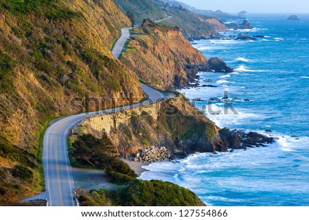 Pacific Coast Highway (Highway 1) at southern end of Big Sur, California