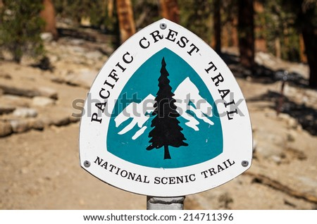 Pacific Crest Trail or PCT national scenic trail sign - stock photo