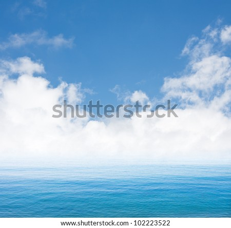 Pacific fog and clouds along the California coast. - stock photo
