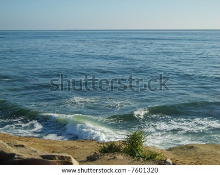 Pacific Horizon off Sunset Cliffs, CA - stock photo