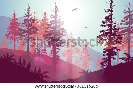 Pacific Northwest forest scenery in purple colour palette. - stock photo