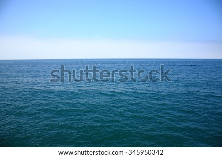 Pacific Ocean - A view of the Pacific Ocean from the Santa Monica Pier in California. - stock photo