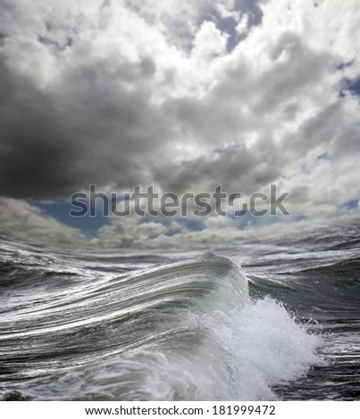 Pacific ocean in a storm with waves.