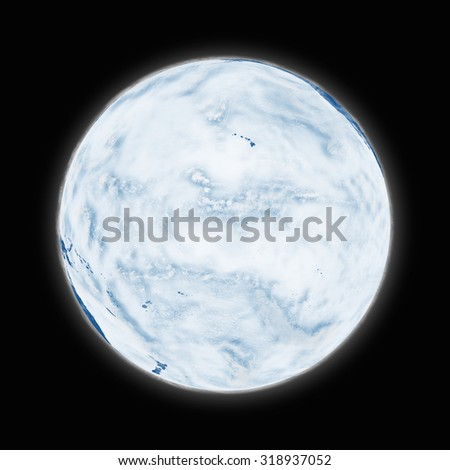 Pacific Ocean on blue planet Earth isolated on black background. Highly detailed planet surface. Elements of this image furnished by NASA. - stock photo