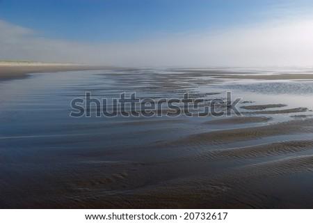 Pacific ocean shoreline at Long Beach peninsula, Washington - stock photo
