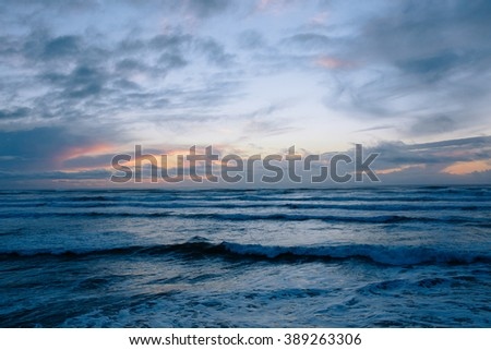 Pacific Ocean with Waves at Dusk