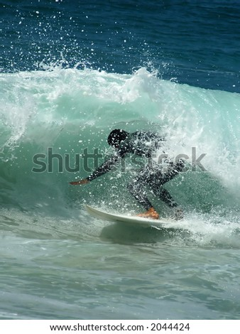 Pacific Surfer in a Tube - stock photo