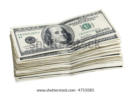 Pack of a 100 dollar bills close up - stock photo