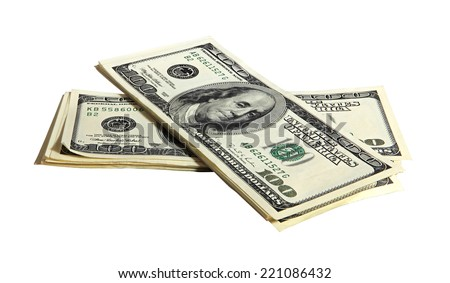 Pack of American money on the white background, isolated - stock photo