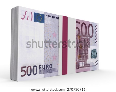 Pack of banknotes. Five hundred euros. 3D illustration. - stock photo