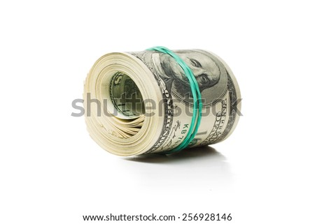 Pack of banknotes. Isolated over white background. - stock photo