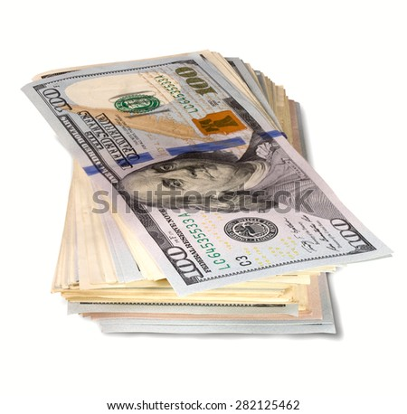 pack of banknotes on one hundred dollars on white background - stock photo