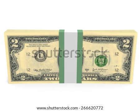 Pack of banknotes. Two dollars. 3D illustration.