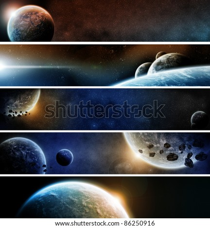 Pack of 5 banners of website apocalypse - stock photo