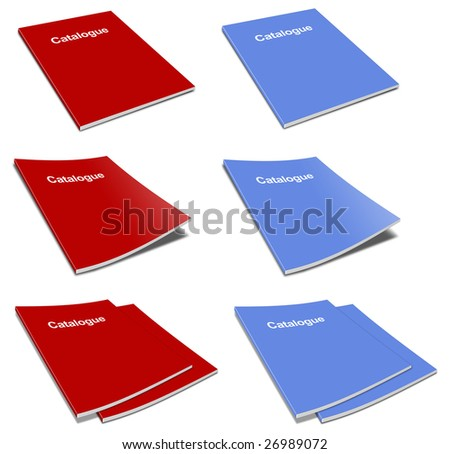 pack of blank catalogue template over white