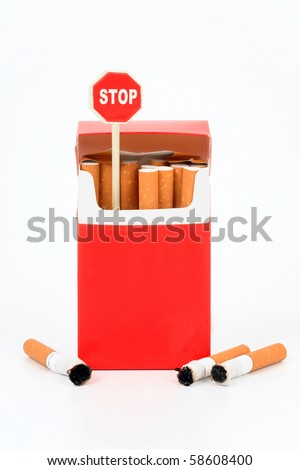 "Pack of cigarets and sign ""Stop"" on a white background - stock photo"