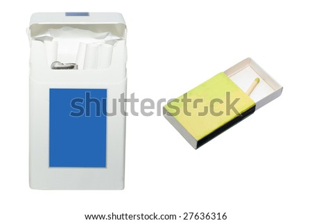 pack of cigarettes and single match under the white background - stock photo