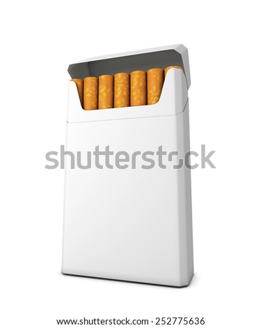 Pack of cigarettes isolated on white background. 3d render image. - stock photo