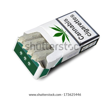Pack of cigarettes on white background. Cannabis cigarettes. Cigarettes with THC. Marijuana cigarette in the open cigarette box isolated on white background. Marijuana cigarettes closeup. - stock photo