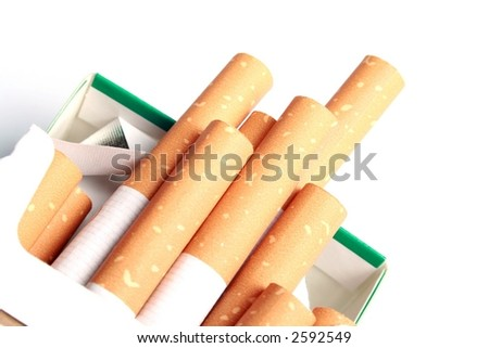 Pack of Cigarettes open - stock photo