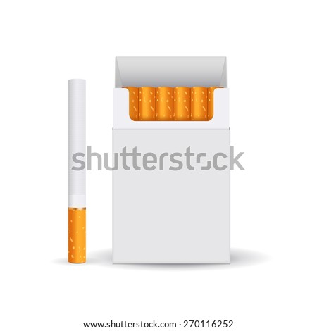 Pack of cigarettes, white blank box and cigarette. isolated on white background. Raster version - stock photo
