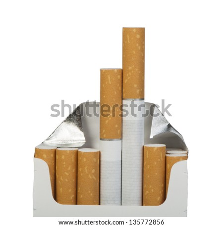 Pack of cigarettes. White isolated studio shot