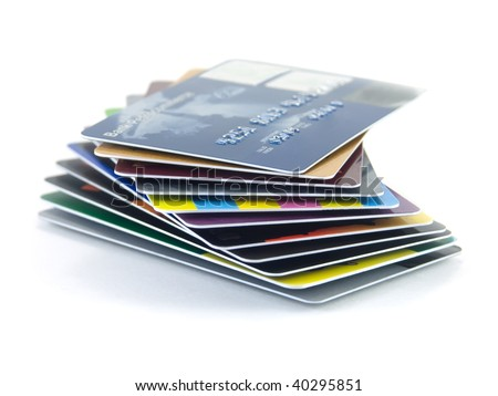 Pack of credit cards isolated on a white background - stock photo