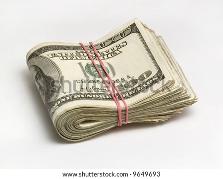 Pack of dollars fastened by an elastic band
