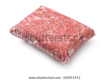 Pack of frozen ground meat isolated on white - stock photo