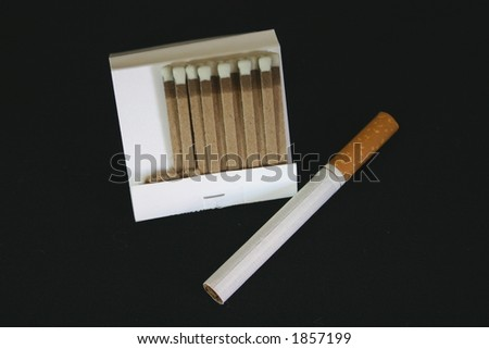 Pack of Matches with a Cigarette - Isolated Object - stock photo