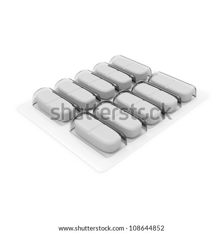 Pack of Medical Pills isolated on white background - stock photo
