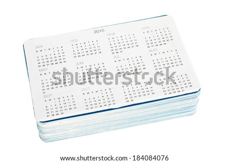 Pack of new pocket calendars isolated on white background - stock photo