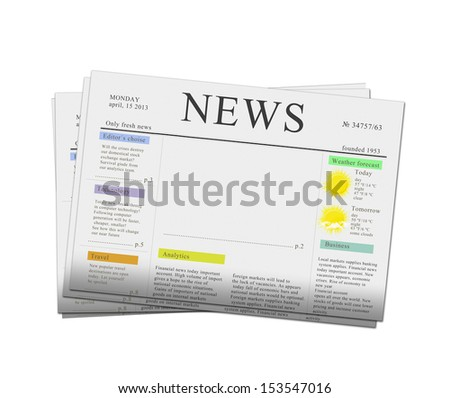 pack of newspapers with empty copy space isolated on white background - stock photo