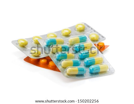 pack of pills isolated on white background