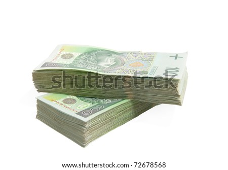 Pack of Polish Zloty bills on white background - stock photo