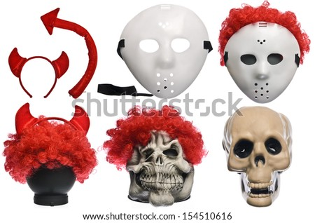 Pack of Various Halloween Costumes. Devil Girl, Jason Hockey Mask, Red Clown Wig, Ghost Mask and Skull on Isolated White Background - stock photo