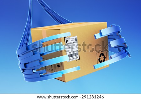 Package and purchase delivery service concept, cardboard box in the hands of a virtual deliveryman - stock photo