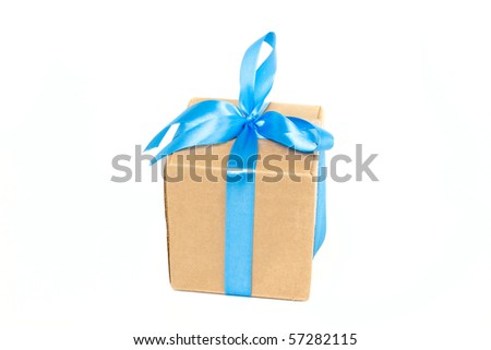 Package box with blue ribbon isolated on white background - stock photo