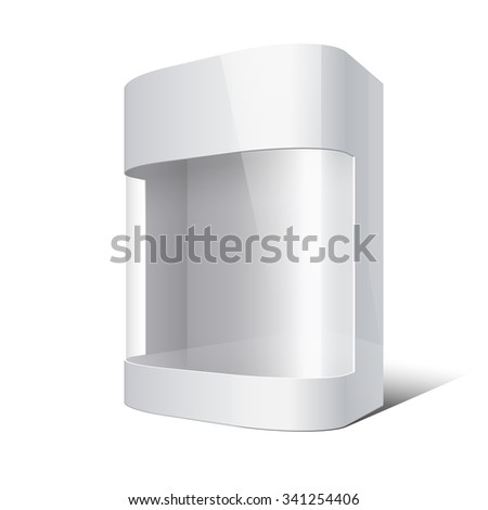 Package Box with rounded corners and transparent plastic window.  - stock photo