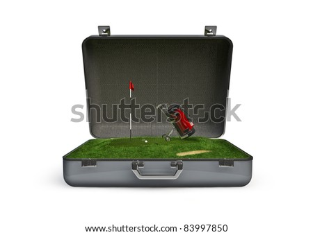Package golf vacation - stock photo