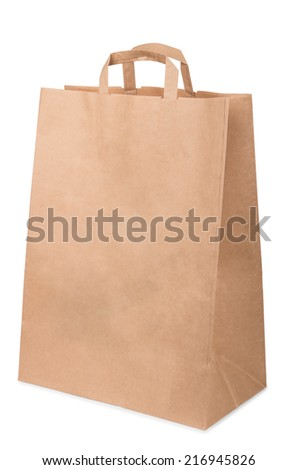 Package handles of brown recycled cardboard isolated on white background