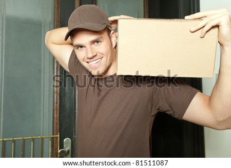 package on shoulder - stock photo